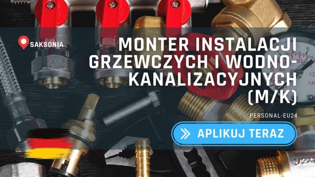 DE_K0047_123 Monter instalacji grzewczych i wodno-kanalizacyjnych (mk) Praca w Niemczech